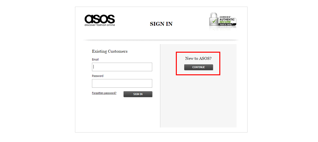 asos sign in